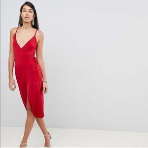 ASOS Tall Red Stretch Wrap Dress